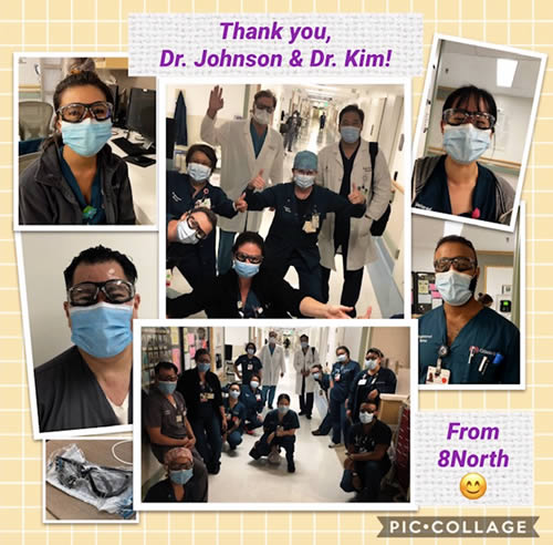 Collage of Cedars Sinai medical staff wearing protective glasses provided as a part of the Spine Institute Foundation's Community Outreach initiative.