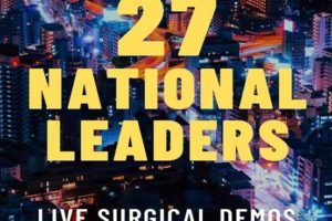Graphic of Seattle skyline with embedded text that reads, 27 National Leaders, Live Surgical Demos