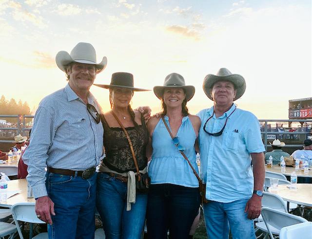 Dr Johnson, Kelly Le Brock, Sue Larew and Rick Larew at Bigfork, Montana Rodeo