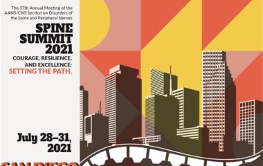 Program illustration the reads Spine Summit 2021, the 37th Annual Meeting of the Joint Section on Disorders of the Spine and Peripheral Nerves, held by the Congress of Neurological Surgeons and the American Association of Neurological Surgeons.